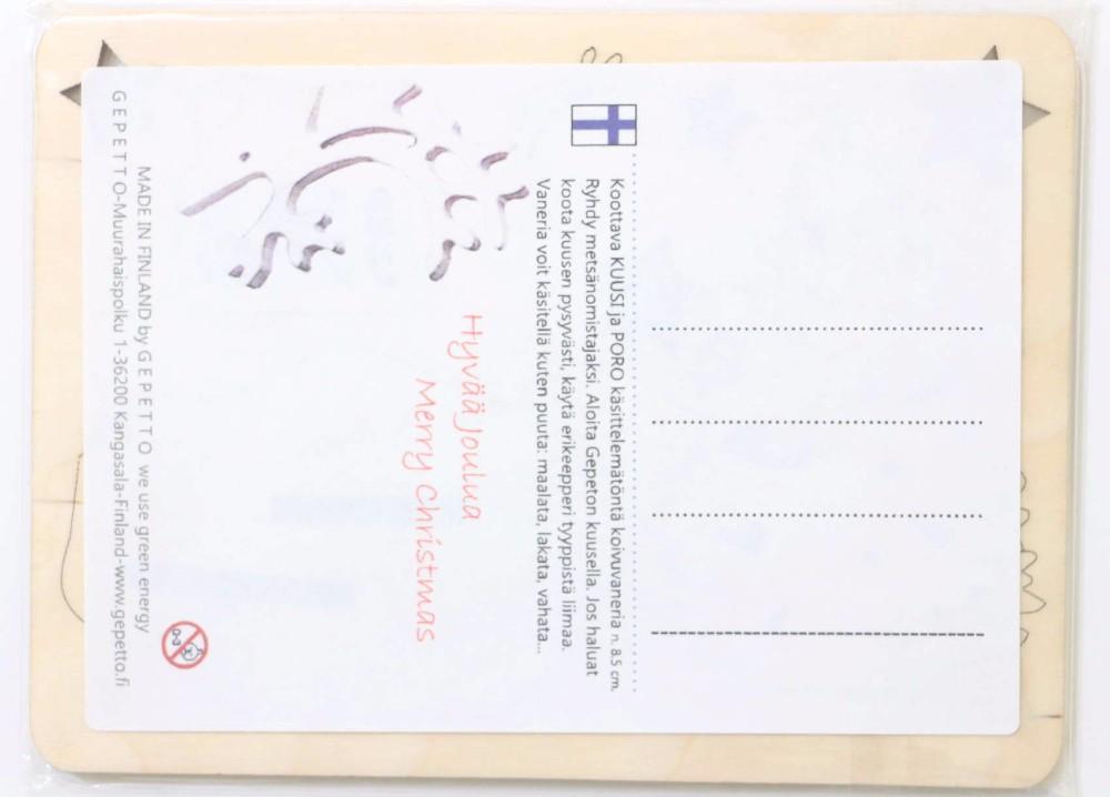 北欧雑貨 木のカード トナカイオーナメント