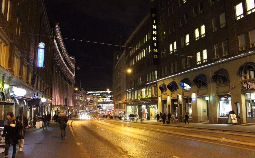 ヘルシンキ市中心の夜景。
