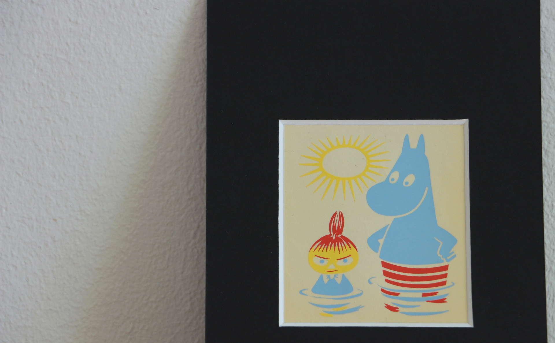 1950年代ヴィンテージムーミンシートムーミンとリトルミイの暗め写真