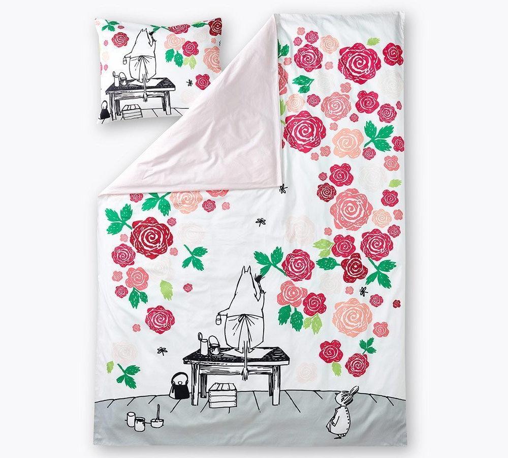 フィンレイソン掛け布団枕カバーセットムーミンママとローズガーデン2017の全体画像