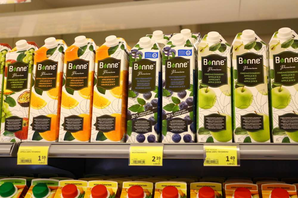 フィンランドのジュース。ブルーベリージュースがおいしい