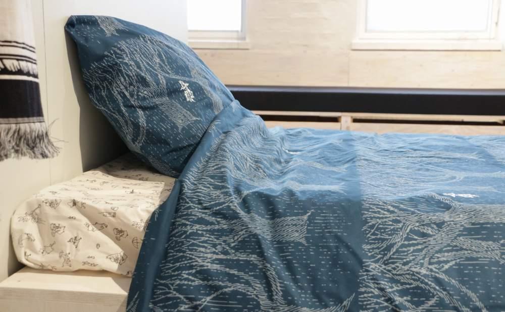 フィンレイソン掛け布団枕カバーセットレイニーデイスナフキン2017枕と布団を横から見る画像
