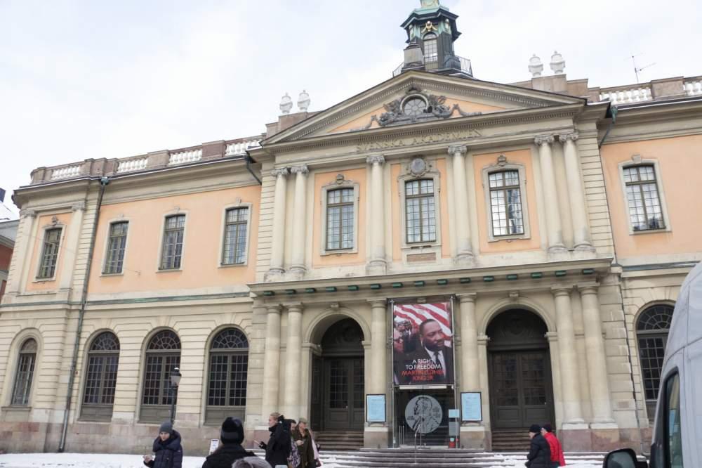 ストックホルムのノーベル博物館正面