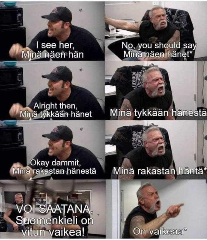 フィンランド語の難しさを表す写真