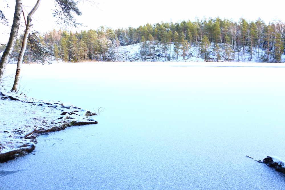 凍結した湖が雪に覆われ、太陽の日差しによって輝く絶景