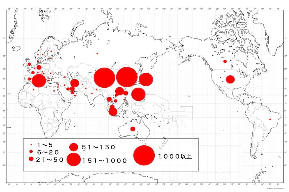 新型コロナウイルス感染者・世界の分布図